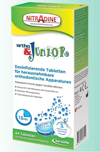 Nitradine Ortho & Junior, Vorratspackung mit 64 Tabletten.